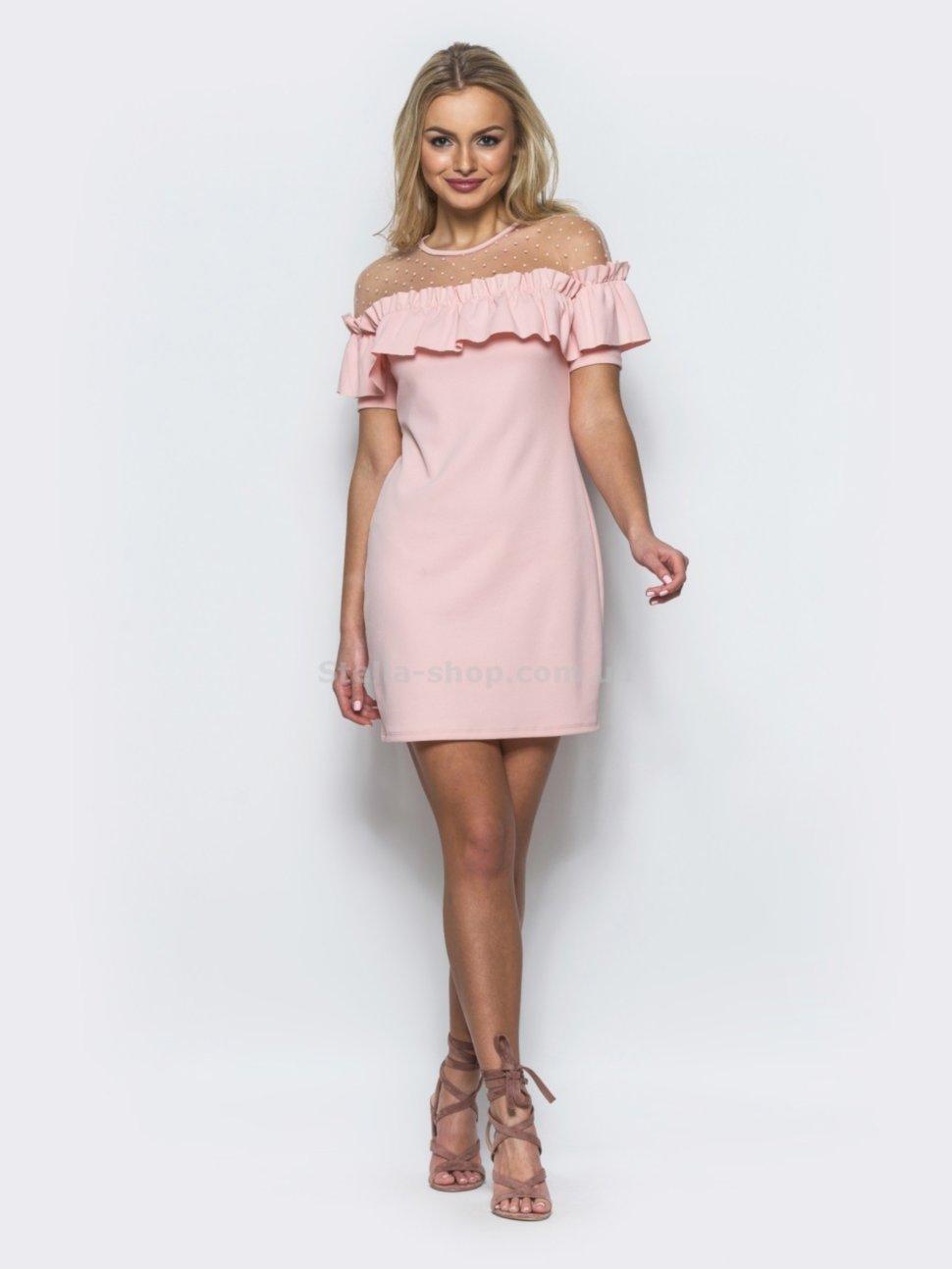 0fca44161e6 Купить Однотонное платье с оборкой на груди. 22192 по цене от 620 грн.