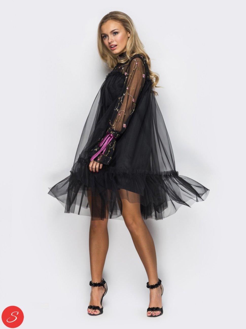 f6923d2cf93 Вечернее платье фатин с вышевкой. 62229 Короткое платье. Подкладка -  трикотажная. какетка и