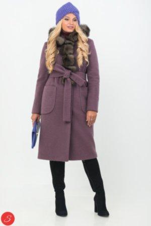 a492e9085ae Комбинированное пальто средней длины с капюшоном. Зимнее пальто с мехом.  Granis. 123